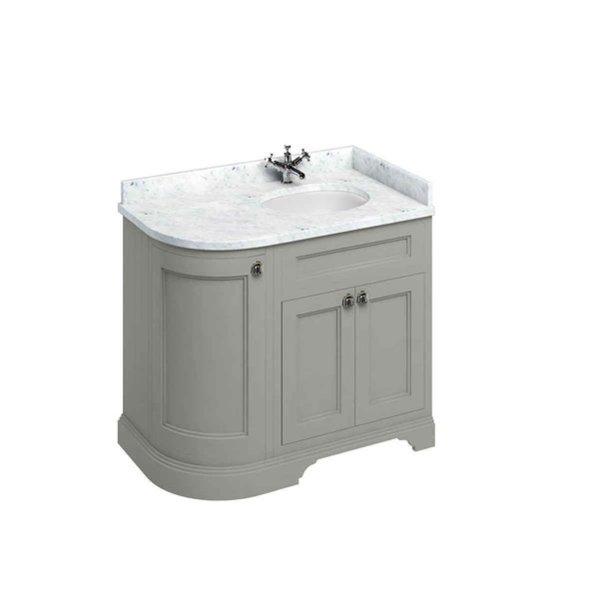 Burlington Dark Olive Freestanding Right End Round Vanity Unit 980mm Carrara White