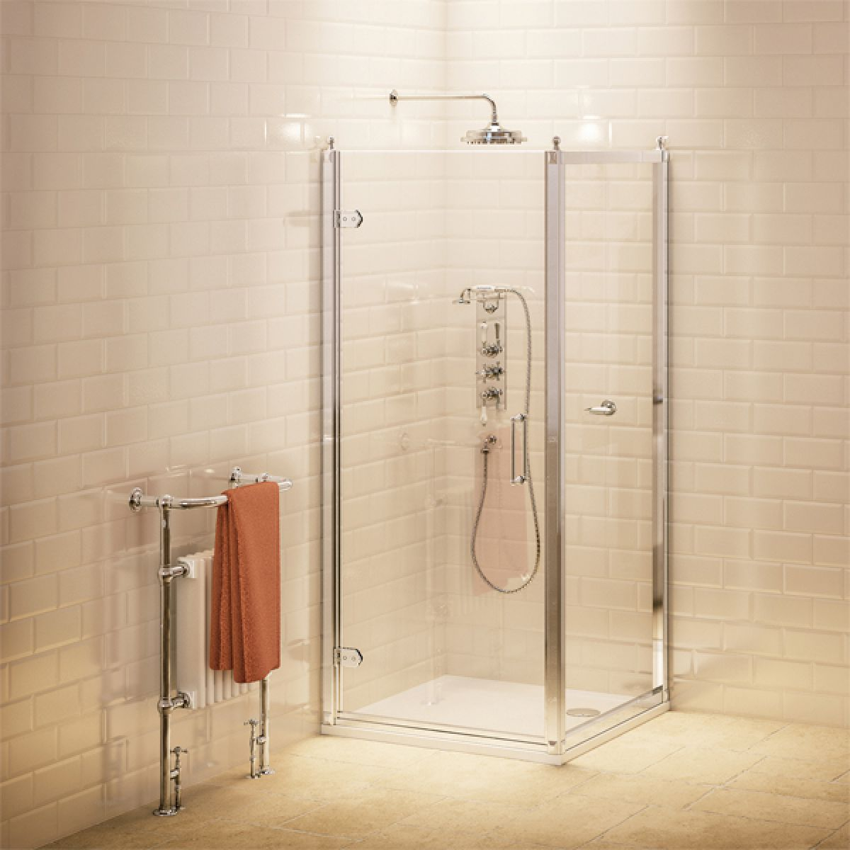 Burlington Hinged Door Shower Enclosure with Optional Side Panel