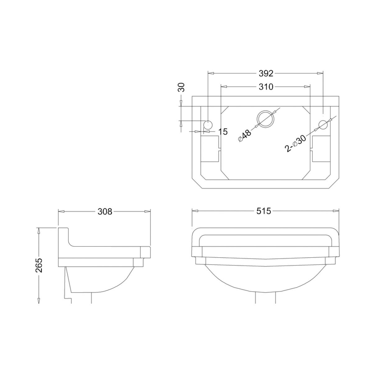 Burlington Jet Edwardian 2 Tap Hole Cloakroom Basin 515mm Dimensions