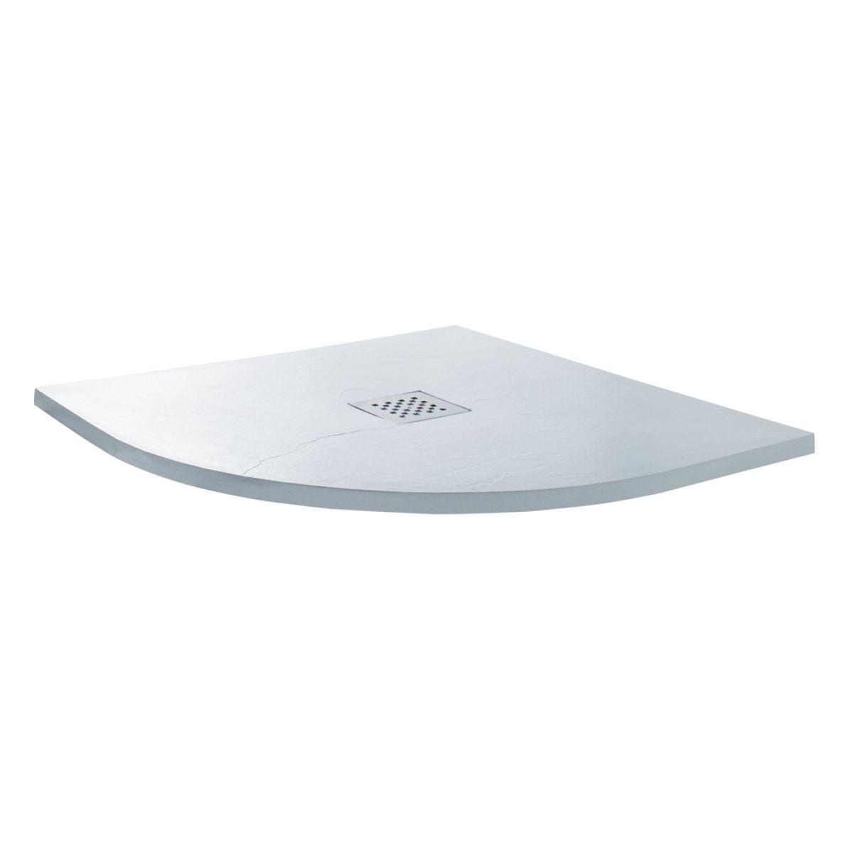 Cassellie Cass Stone White Slate Effect Quadrant Shower Tray 900 x 900mm