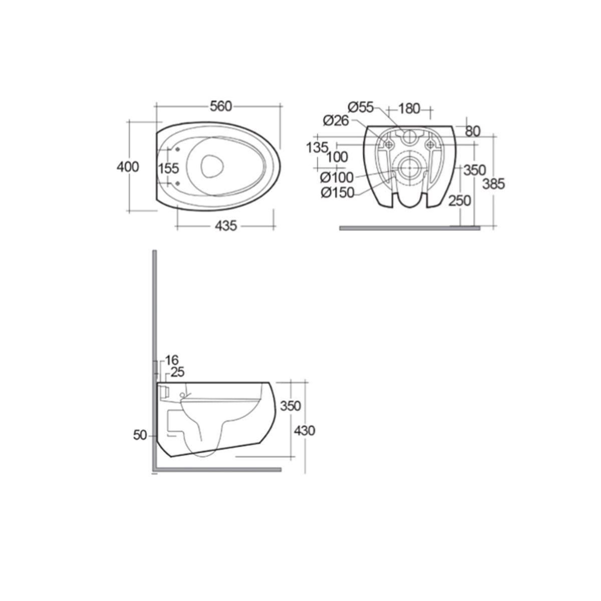 RAK Cloud Matt White Wall Hung Toilet with Soft Close Seat Measurements
