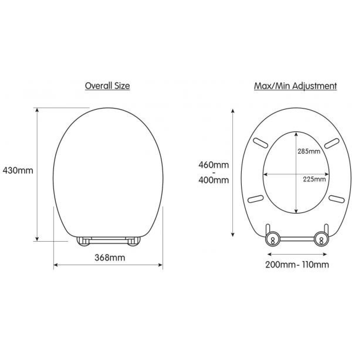Croydex Lugano Soft Close Toilet Seat Dimensions