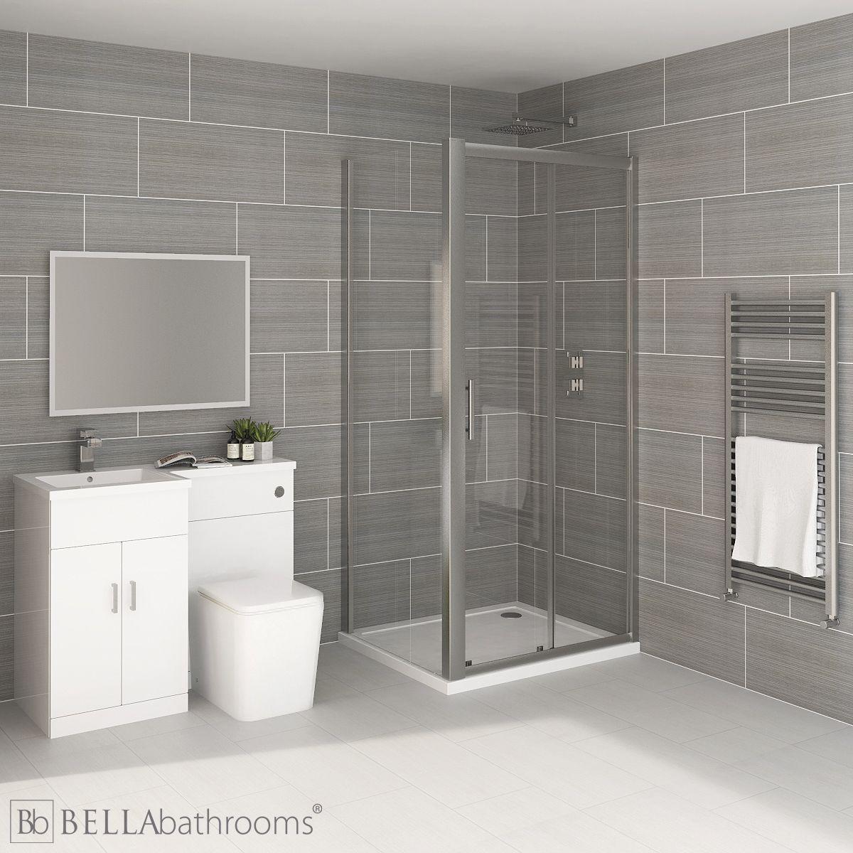 Elation Combination L Shape White Furniture Suite with April Destini Sliding Shower Enclosure