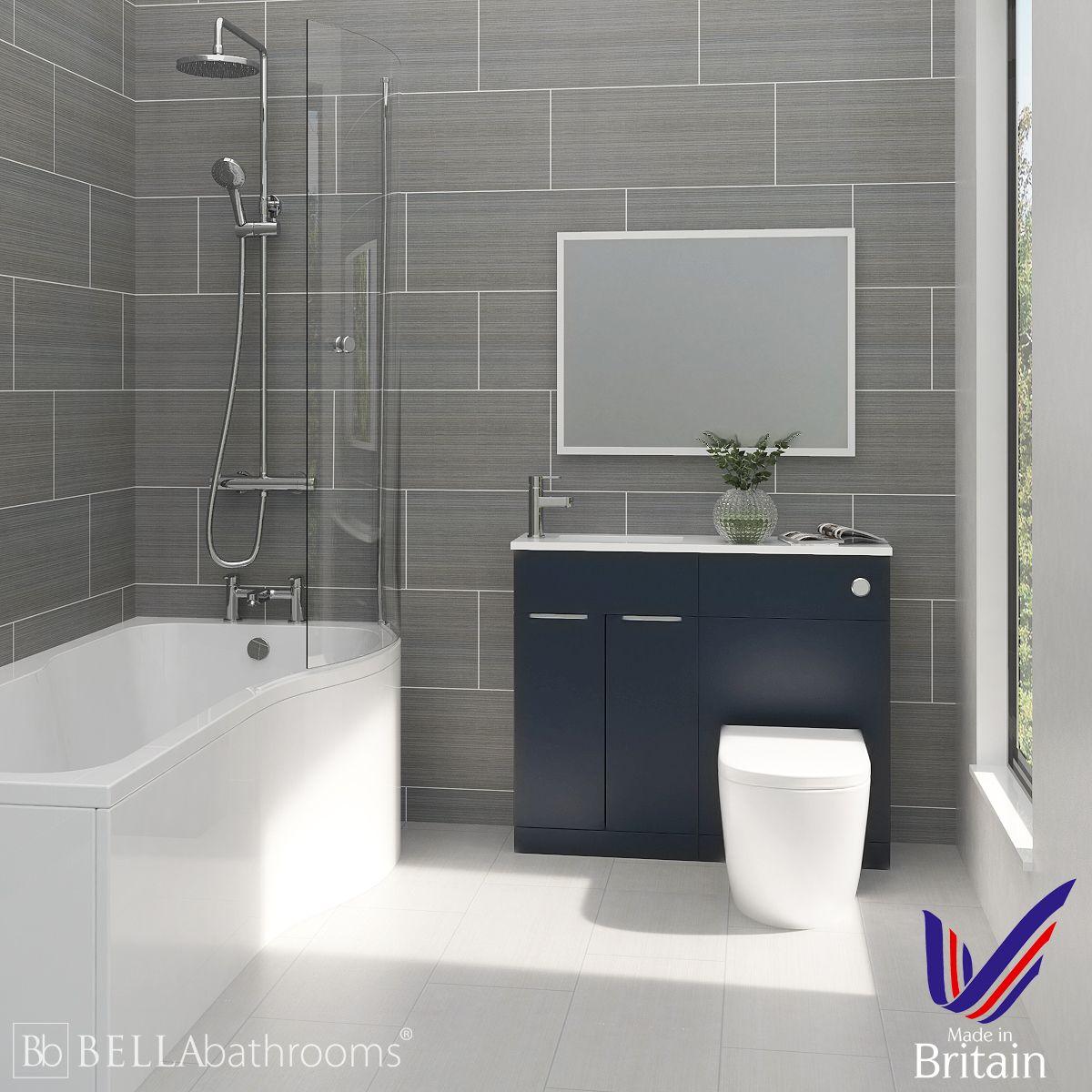 Elation Combination Indigo Matt Furniture Suite with Right Hand P Shape Shower Bath