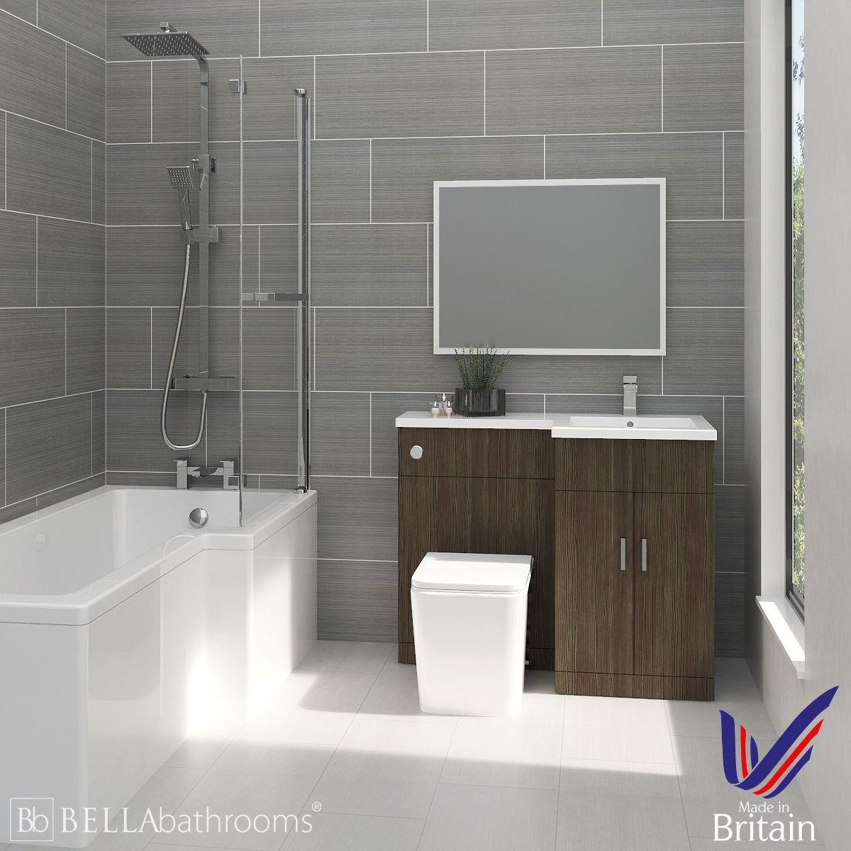 Elation Combination L Shape Bodega Grey Furniture Suite with Right Hand L Shape Shower Bath