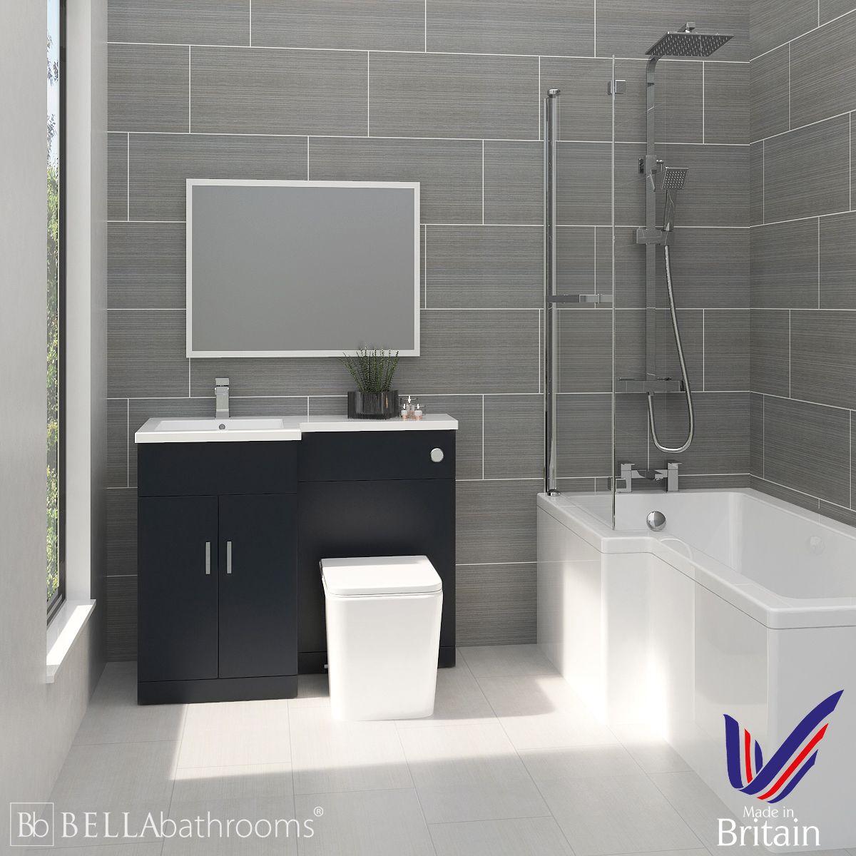 Elation Combination L Shape Indigo Matt Furniture Suite with Left Hand L Shape Shower Bath
