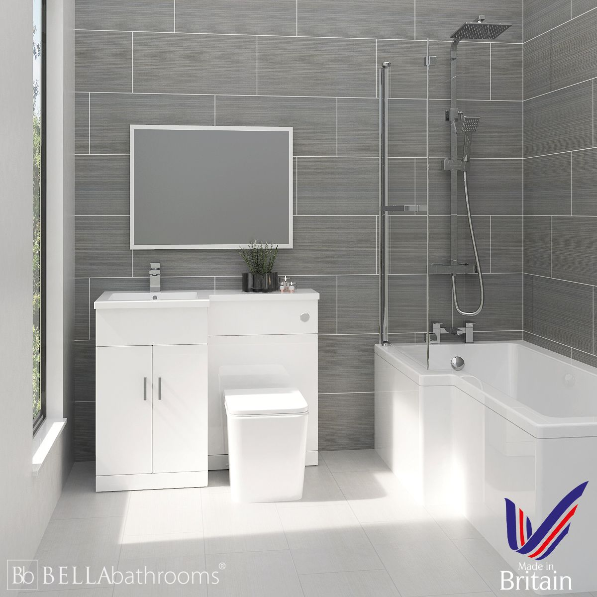 Elation Combination L Shape White Furniture Suite with Left Hand L Shape Shower Bath