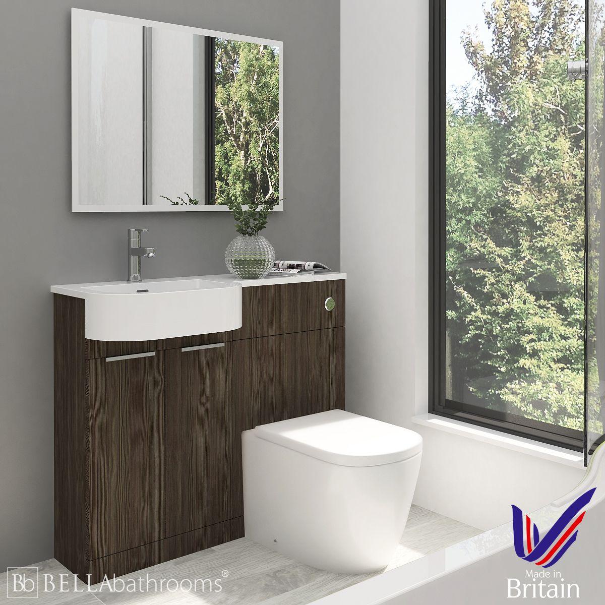 Elation Combination P Shape Bodega Grey Furniture Pack 1010mm Left Hand with Cayton Toilet