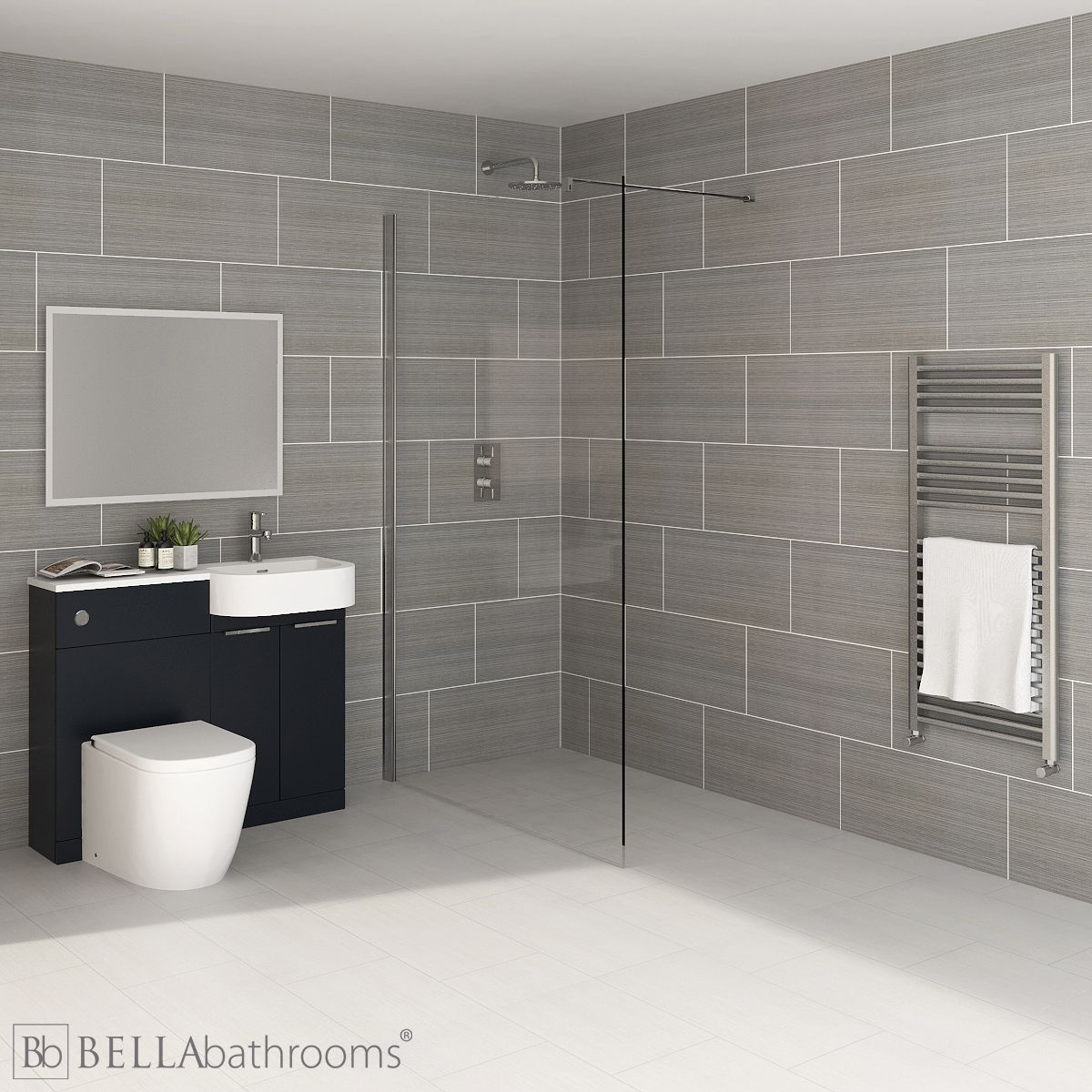 Elation Combination P Shape Indigo Matt Furniture Suite with April Destini Wet Room Shower Enclosure with Cayton Toilet