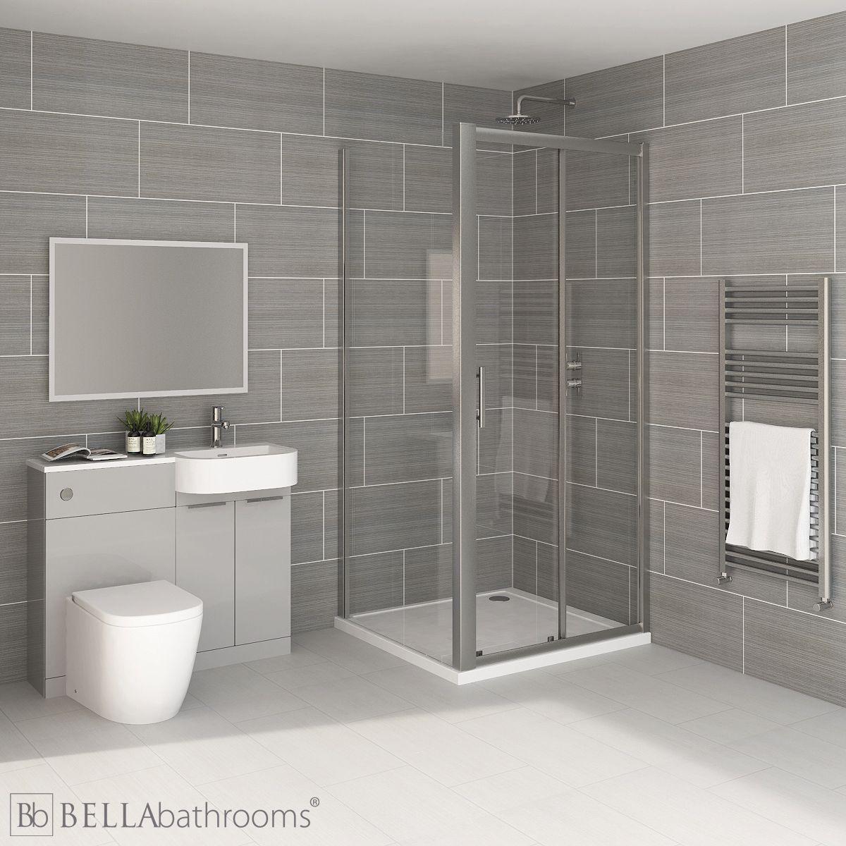 Elation Combination P Shape Pearl Grey Matt Furniture Suite with April Destini Sliding Shower Enclosure