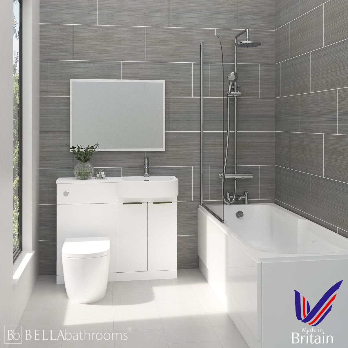 Elation Combination P Shape White Furniture Suite with Nuie Linton Shower Bath