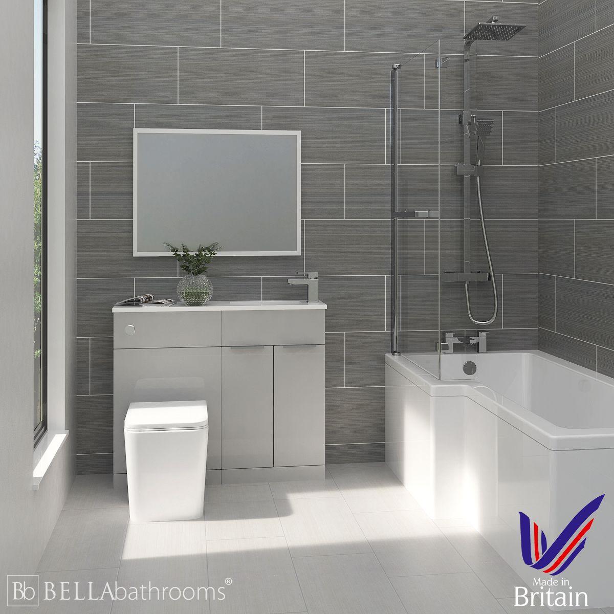 Elation Combination Pearl Grey Matt Furniture Suite with Left Hand L Shape Shower Bath
