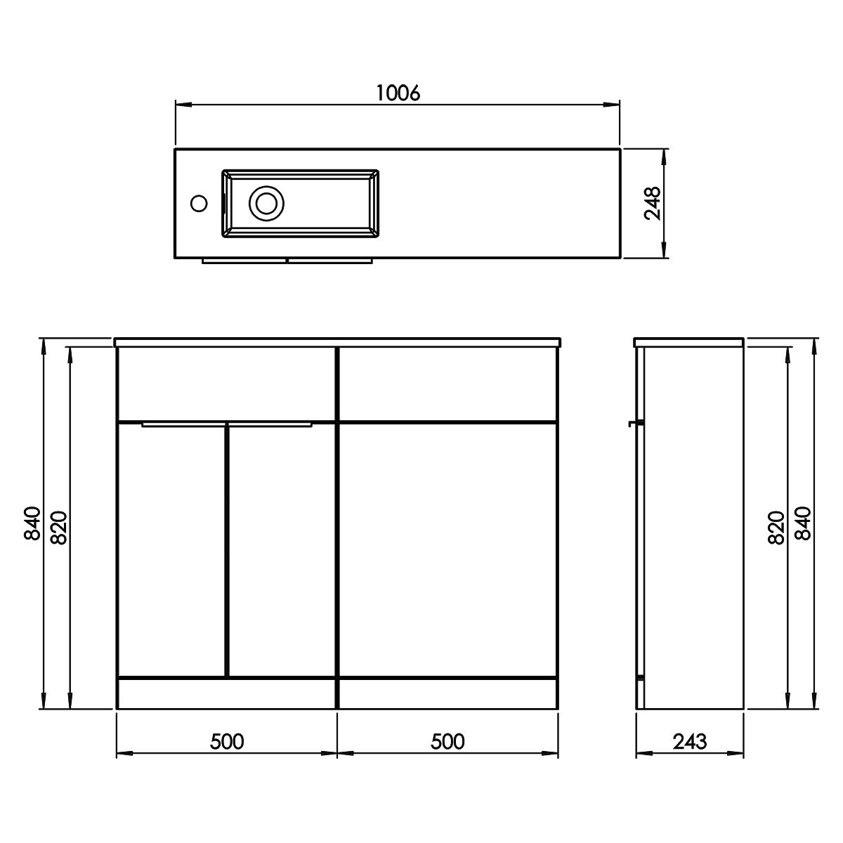 Elation Combination Straight White Furniture Pack 1000mm Drawing