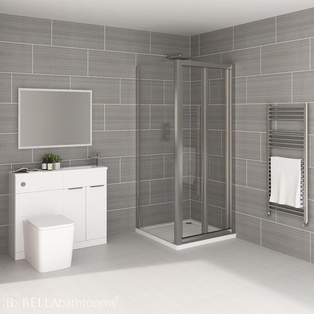Elation Combination White Furniture Suite with April Destini Bi Fold Shower Enclosure with Brearton Toilet