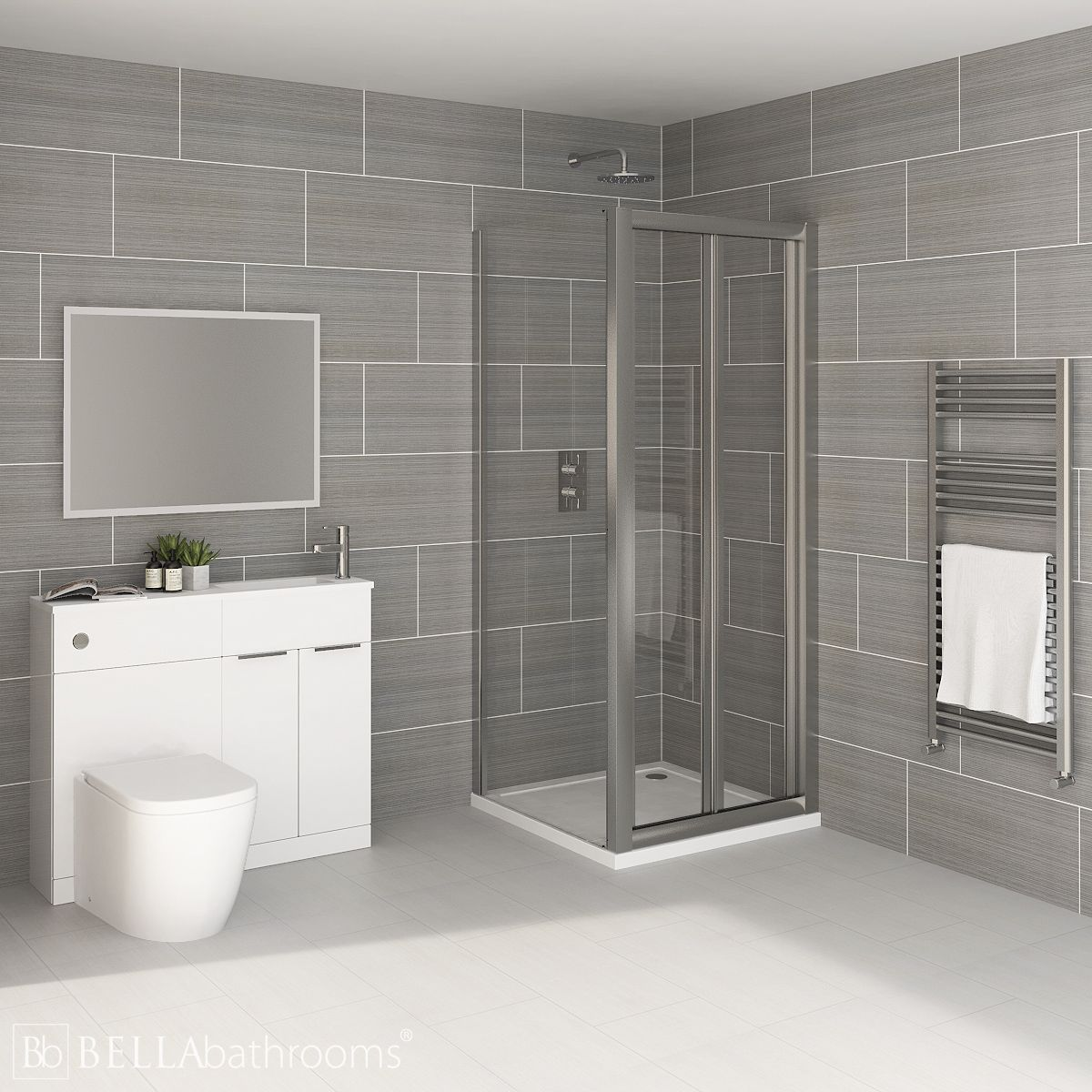 Elation Combination White Furniture Suite with April Destini Bi Fold Shower Enclosure with Cayton Toilet