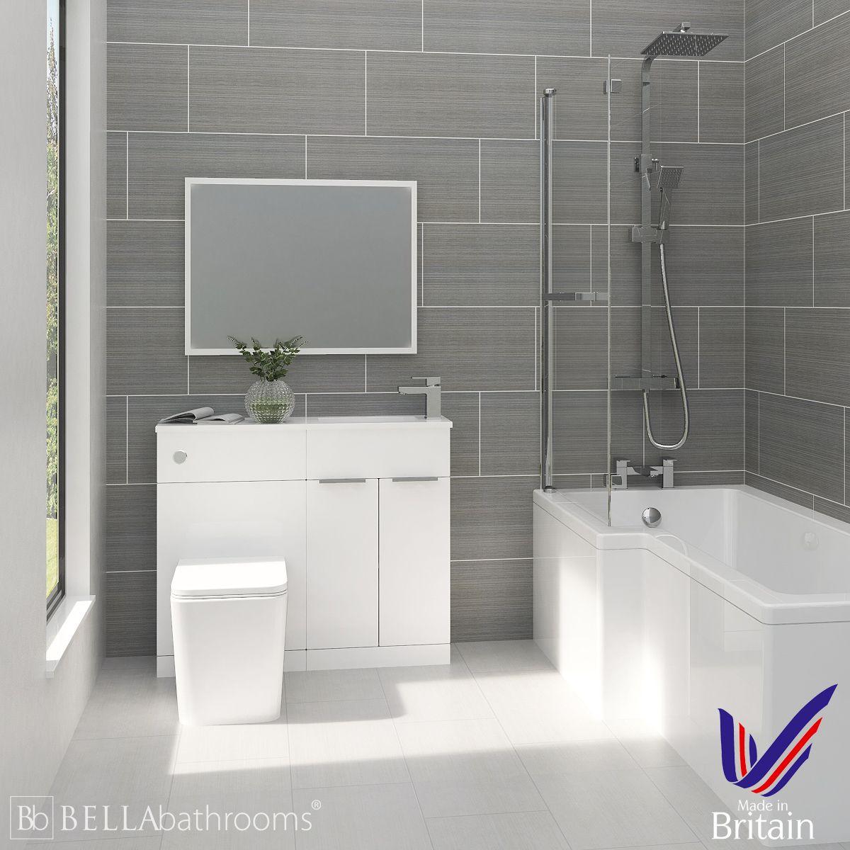 Elation Combination White Furniture Suite with Left Hand L Shape Shower Bath