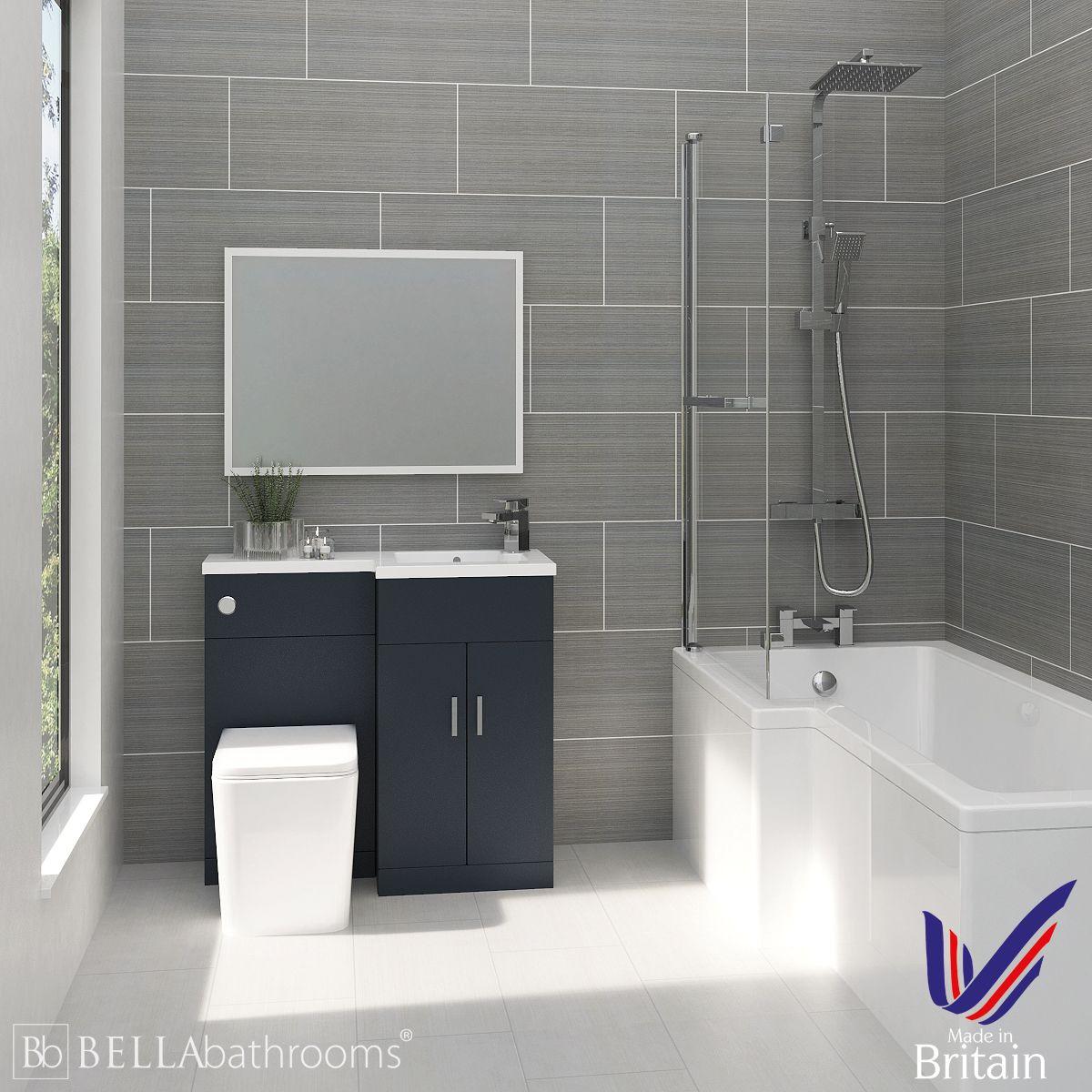 Elation Compact Combination L Shape Indigo Matt Furniture Suite with Left Hand L Shape Shower Bath