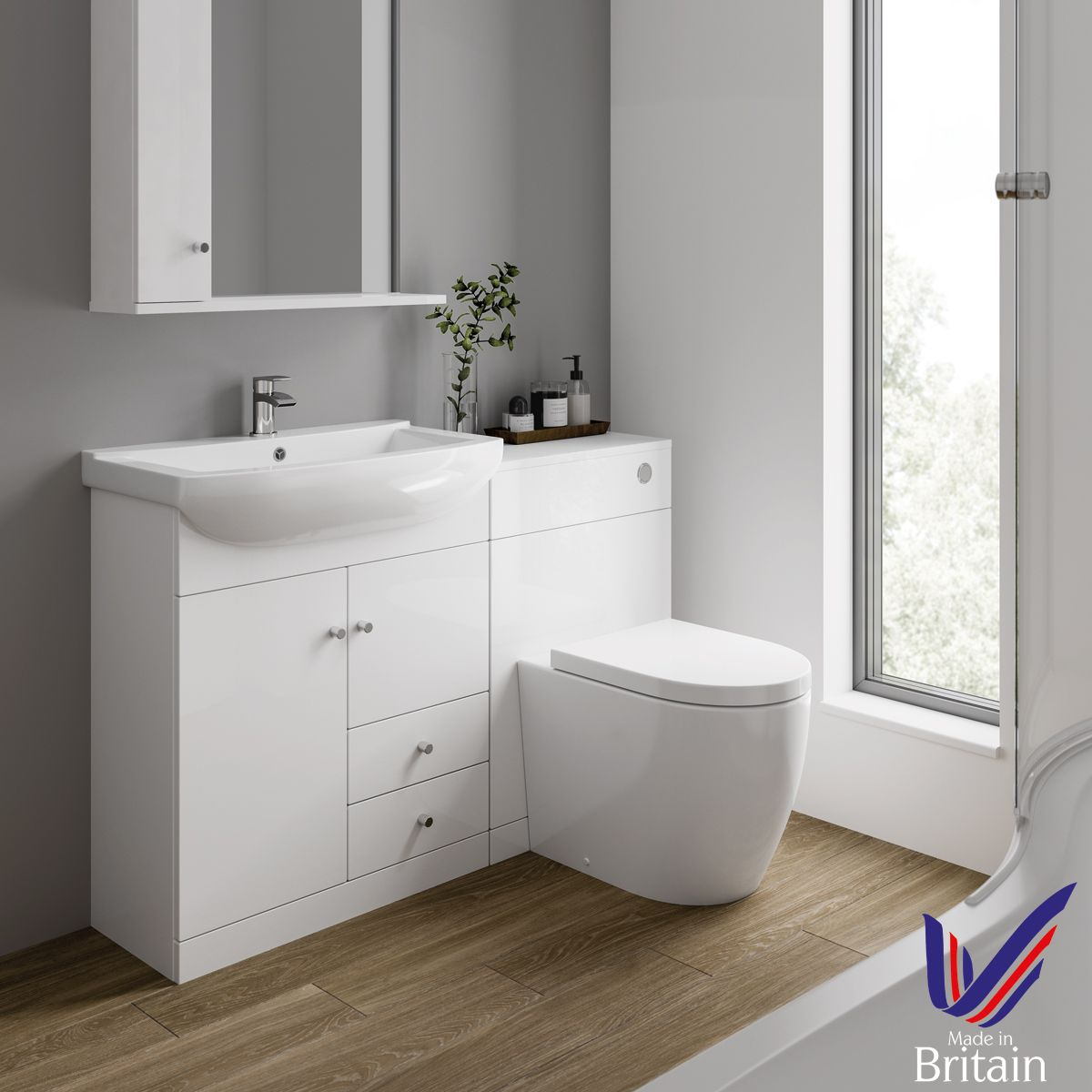 Ikoma White Gloss Vanity Unit with Basin 1050mm Lifestyle