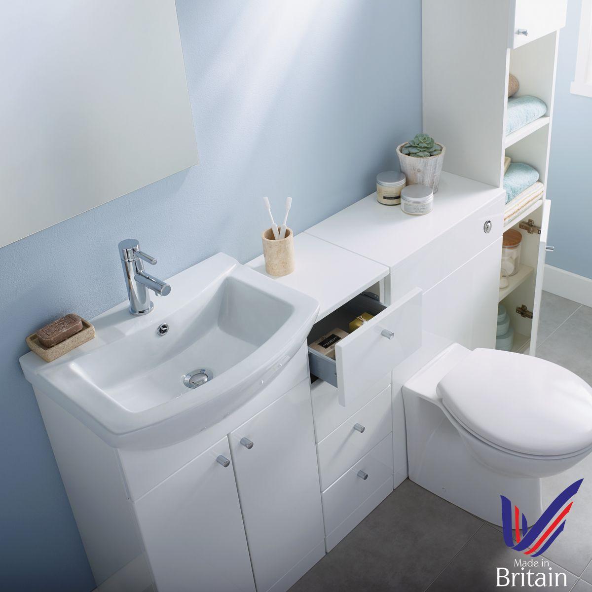 Ikoma White Gloss Vanity Unit with Basin 850mm Overhead