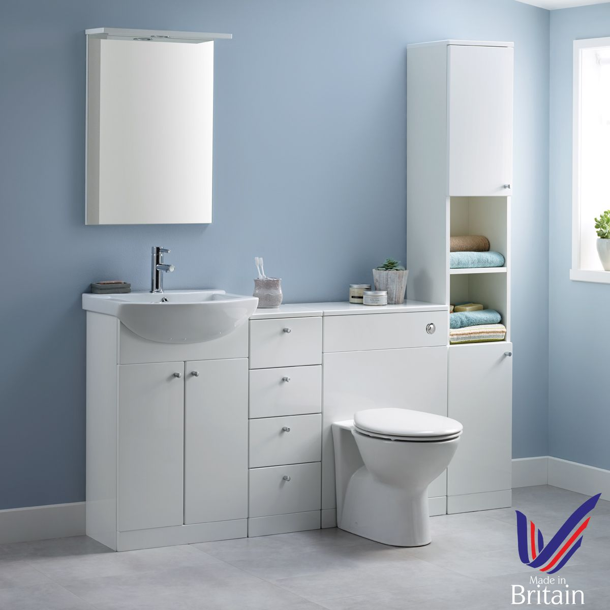 Ikoma White Gloss Vanity Unit with Basin 1050mm Roomset