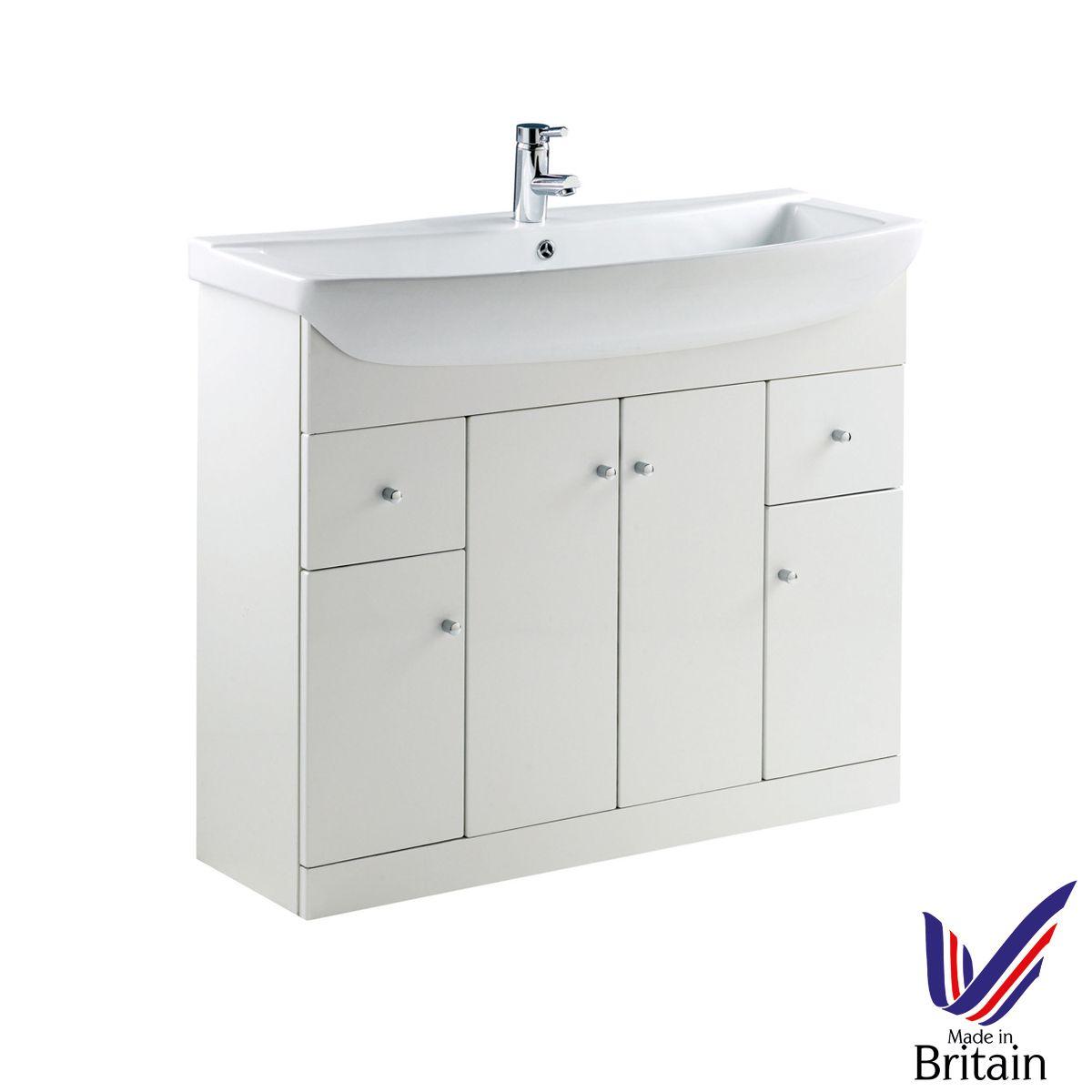 Ikoma White Gloss Vanity Unit with Basin 1050mm