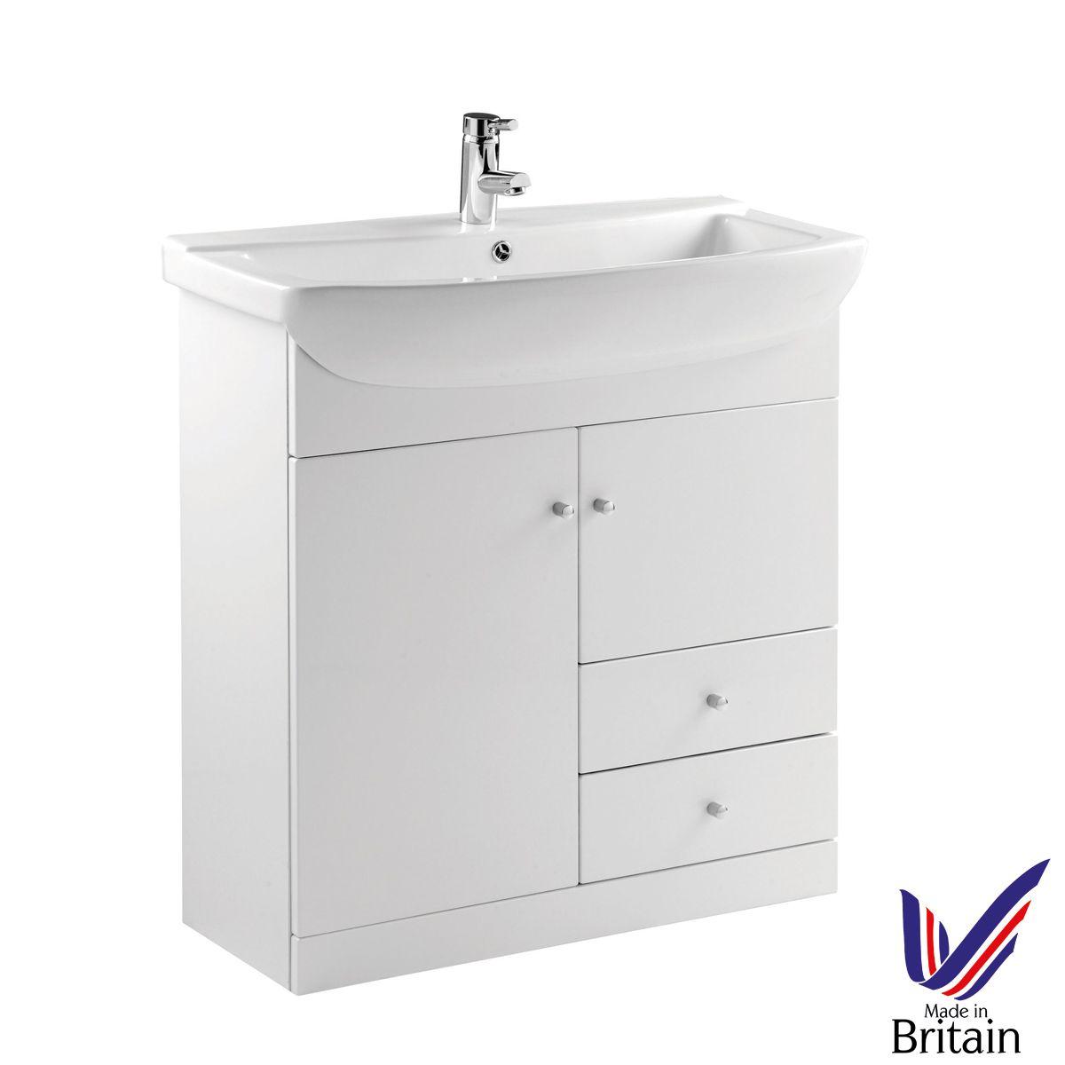 Ikoma White Gloss Vanity Unit with Basin 850mm