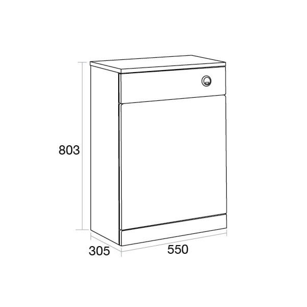 Ikoma White Gloss WC Unit 550mm Dimensions