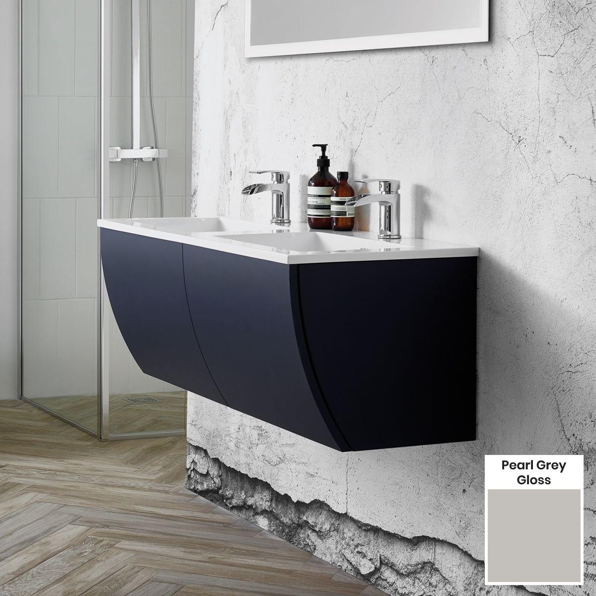 Elation Kiyo Pearl Grey Gloss Vanity Unit 1100mm