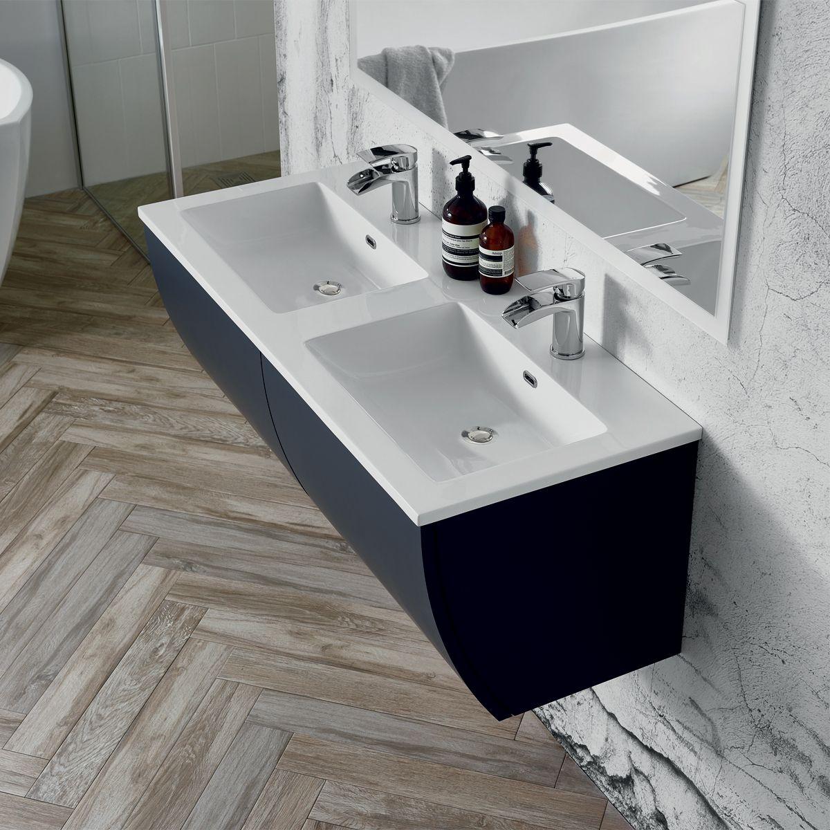 Elation Kiyo Pearl Grey Gloss Vanity Unit 1100mm Dimensions