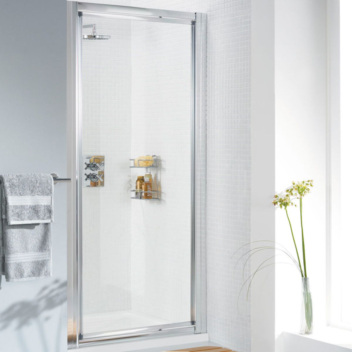 Lakes Classic Silver Pivot Shower Door with Optional Side Panel