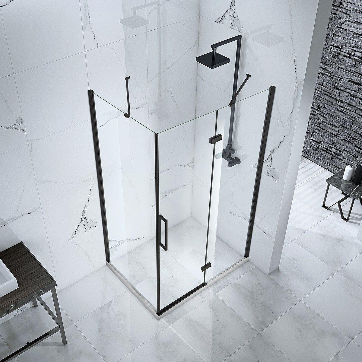 Frontline Aquaglass Onyx Black Hinged Shower Enclosure Overhead