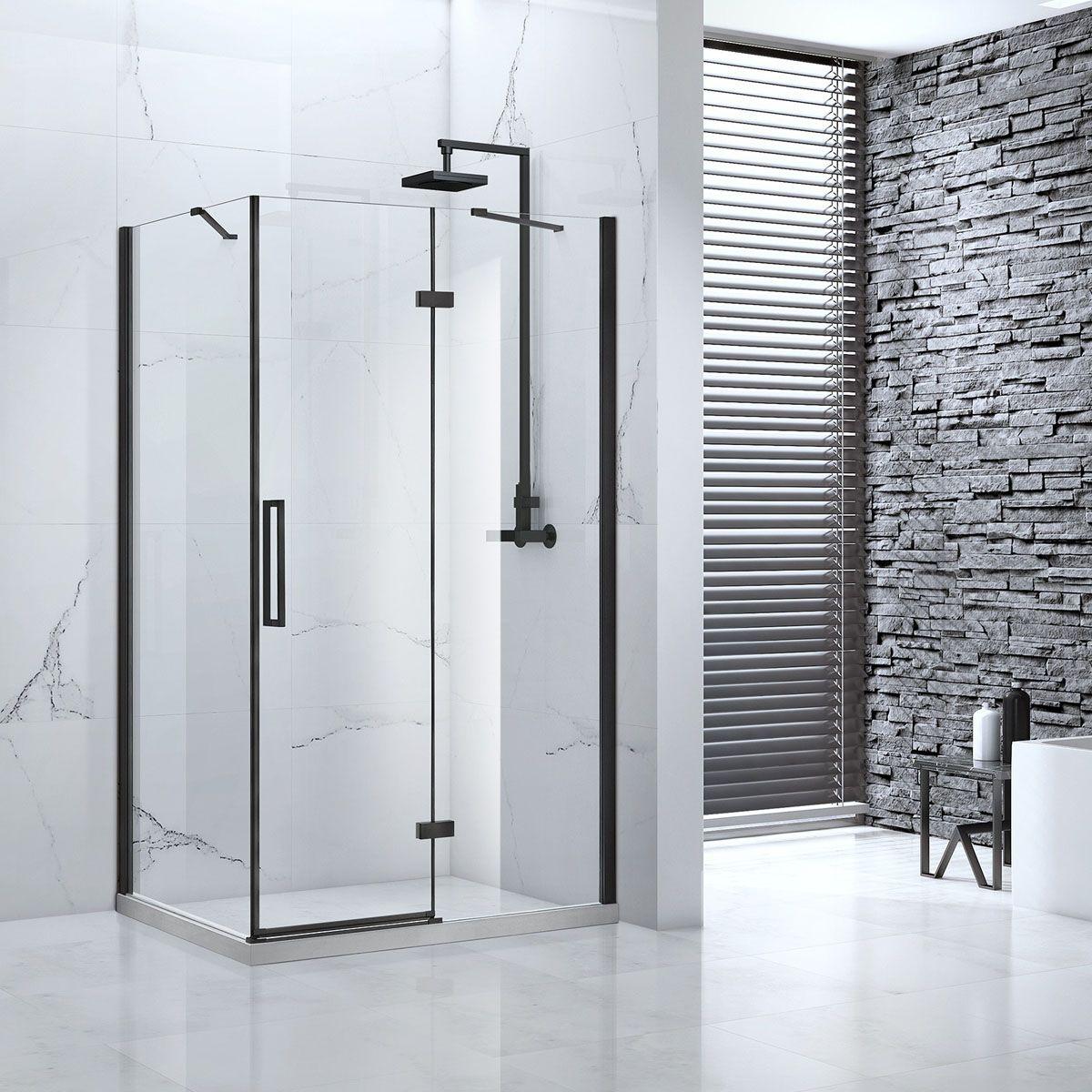 Frontline Aquaglass Onyx Black Hinged Shower Enclosure