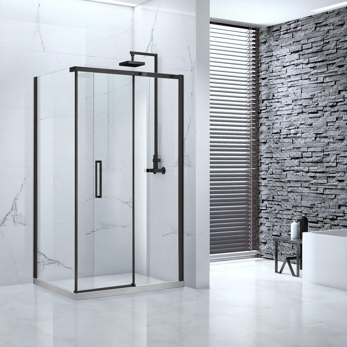 Frontline Aquaglass Onyx Black Sliding Shower Enclosure
