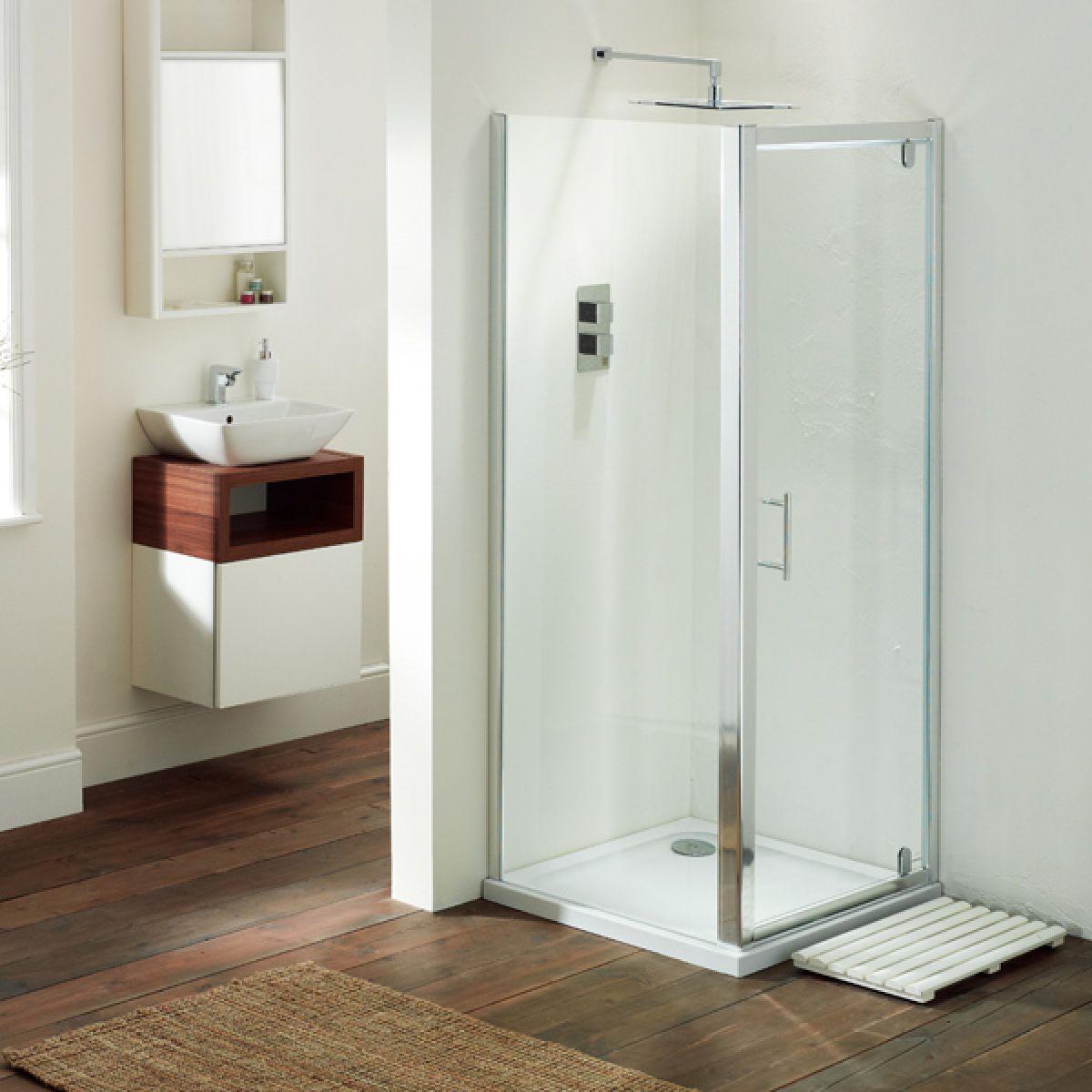 Frontline Aquaglass Purity Pivot Shower Door with Optional Side Panel
