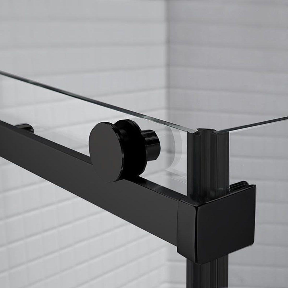 Frontline Aquaglass Sphere Black Sliding Shower Enclosure with Optional Side Panel Roller