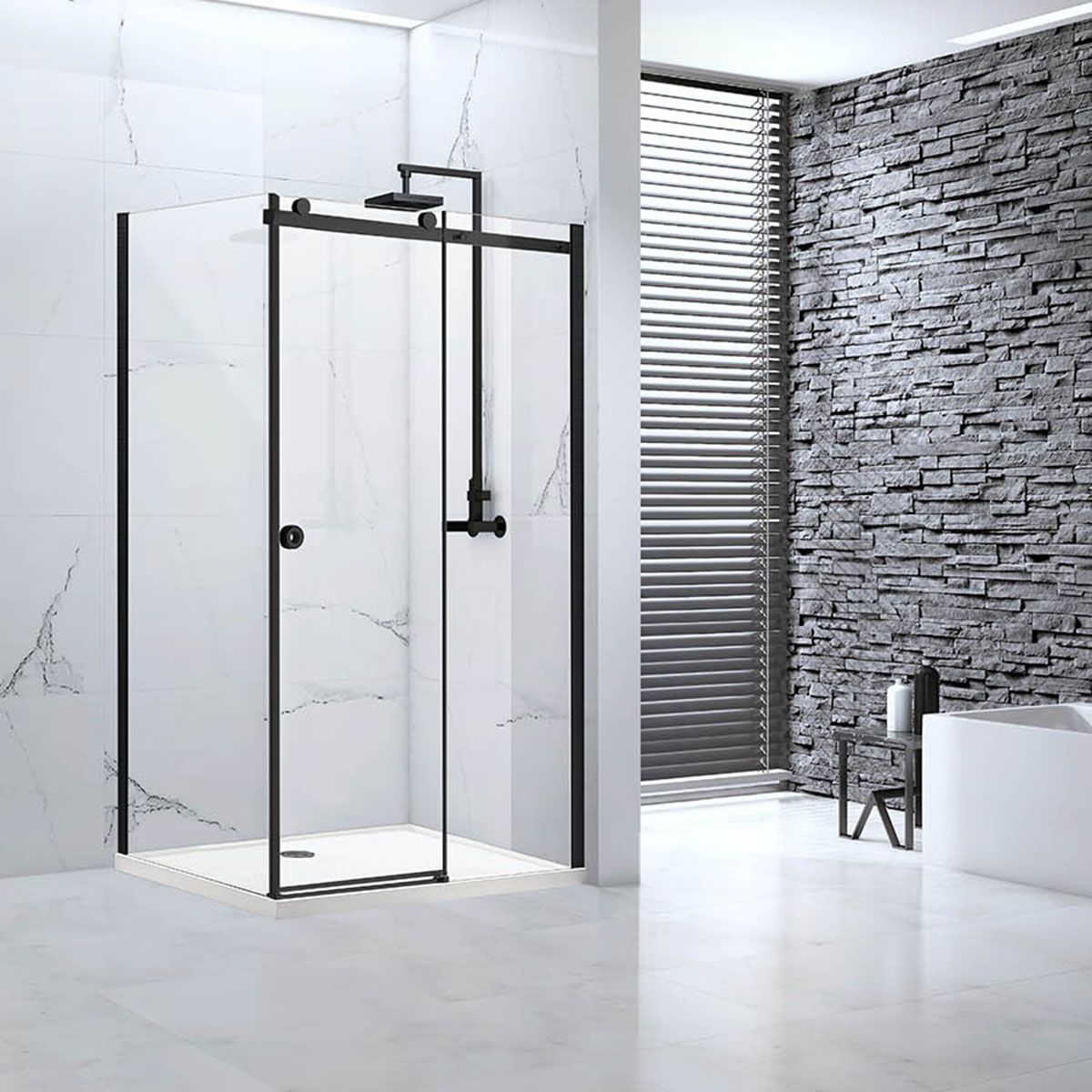 Frontline Aquaglass Sphere Black Sliding Shower Enclosure with Optional Side Panel