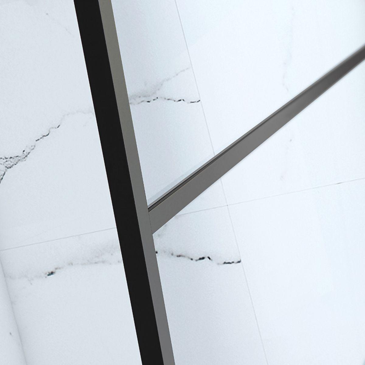 Frontline Aquaglass Velar+ Black Horizontal Crittal Framed Walk In Shower Enclosure Detail 1