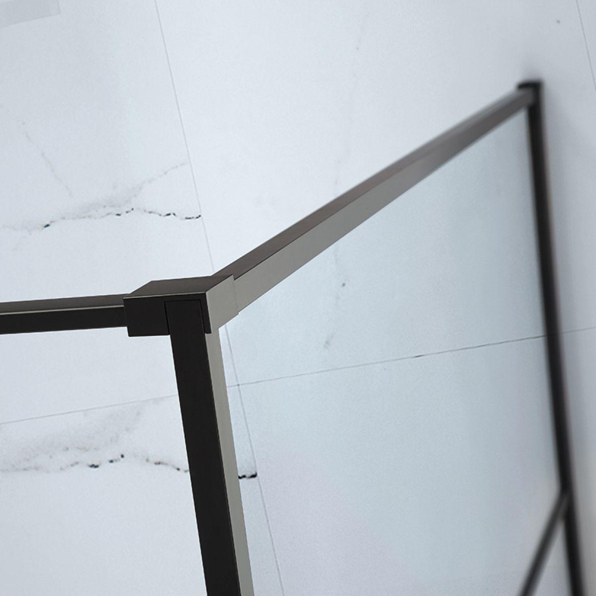 Frontline Aquaglass Velar+ Black Horizontal Crittal Framed Walk In Shower Enclosure Detail 2