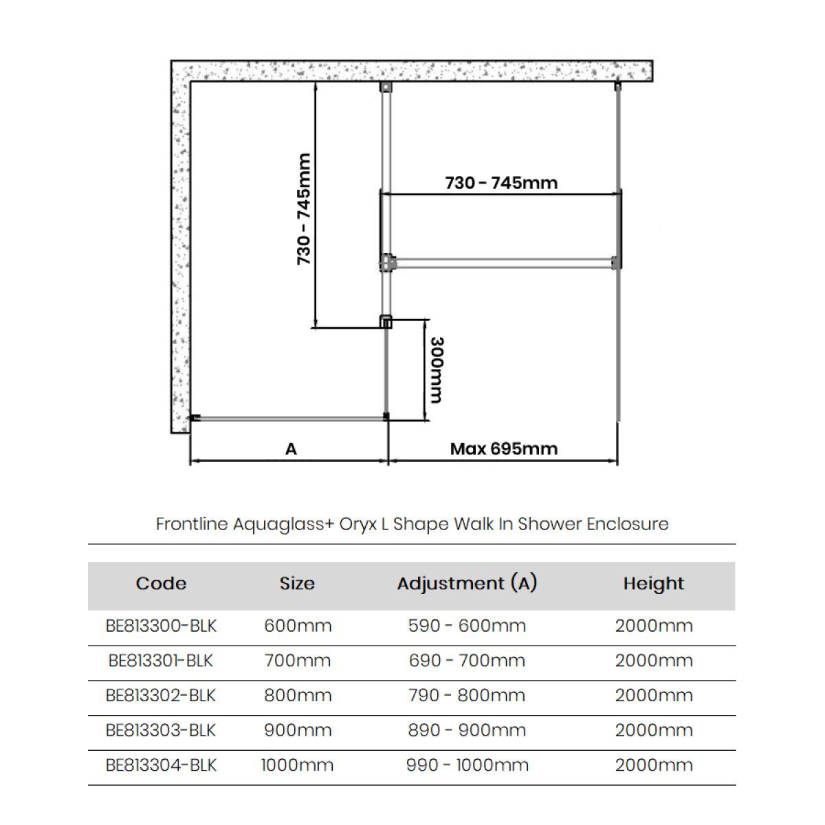 Frontline Aquaglass+ Onyx L Shape Walk In Shower Enclosure Dimensions