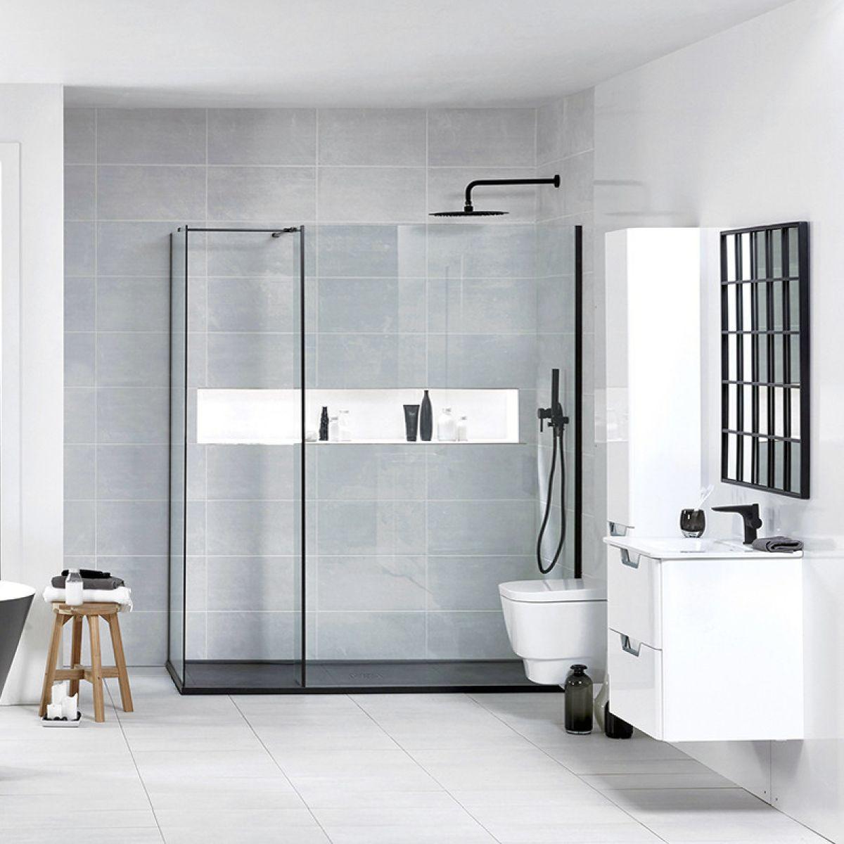Frontline Aquaglass+ Onyx L Shape Walk In Shower Enclosure