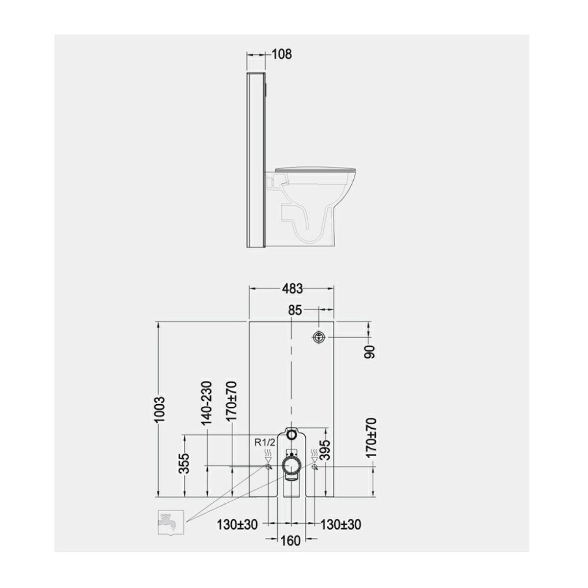 RAK Obelisk Ecofix White Cistern Cabinet for Wall Hung Pans Measurements