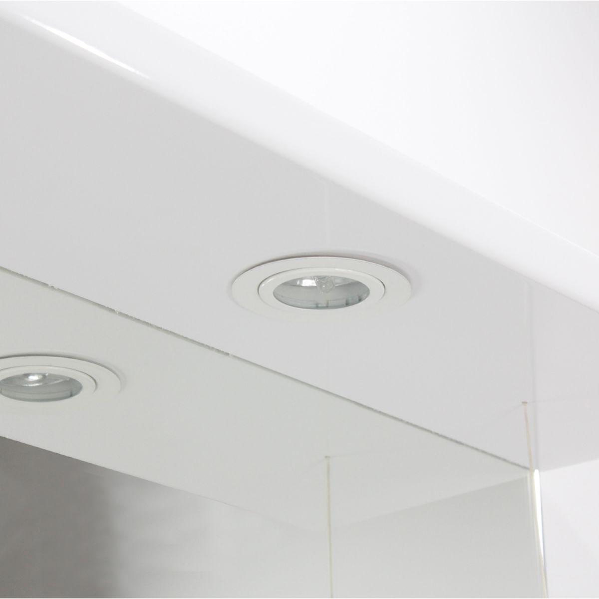 Premier High Gloss White Bathroom Mirror Cabinet Lights Off