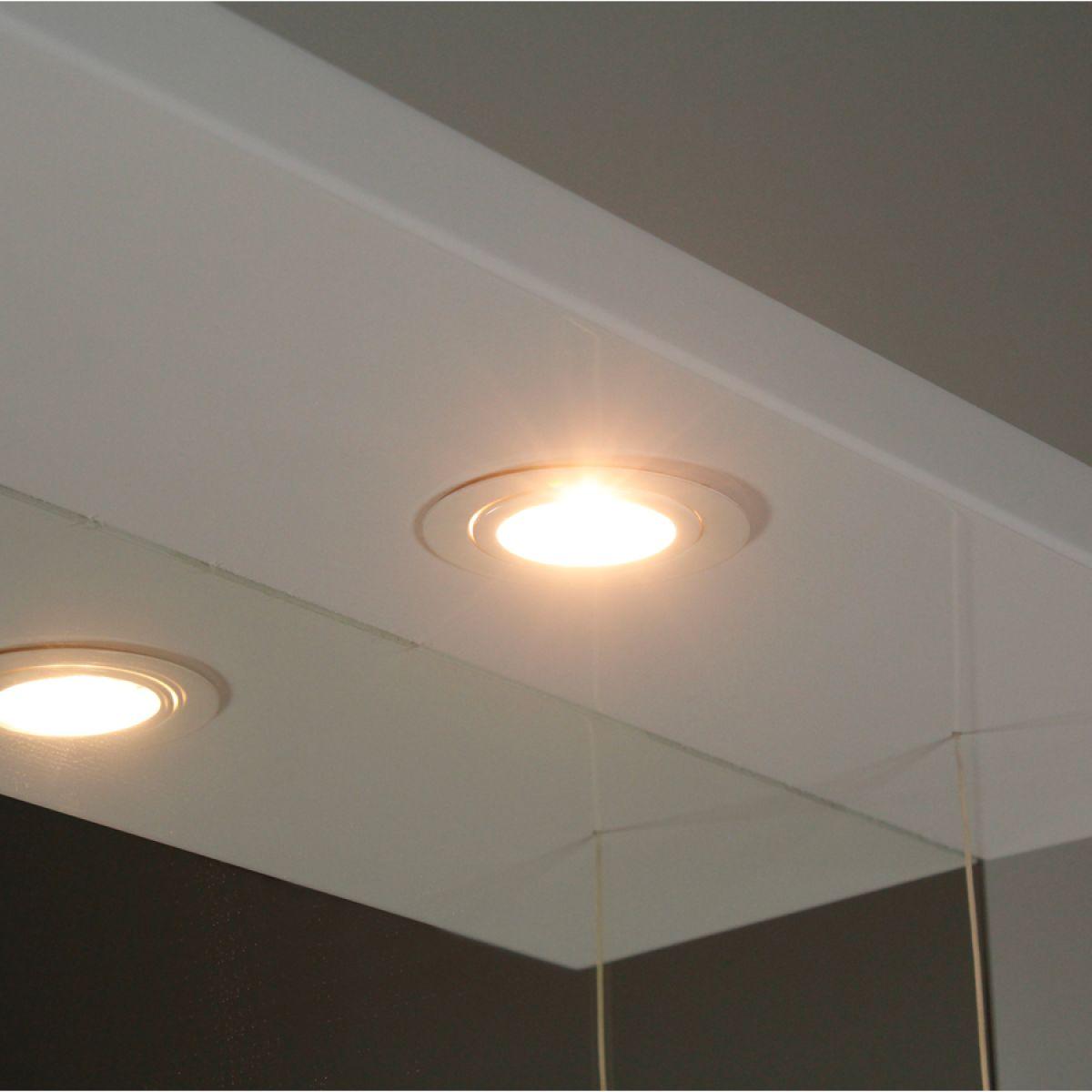 Premier High Gloss White Bathroom Mirror Cabinet Lights On