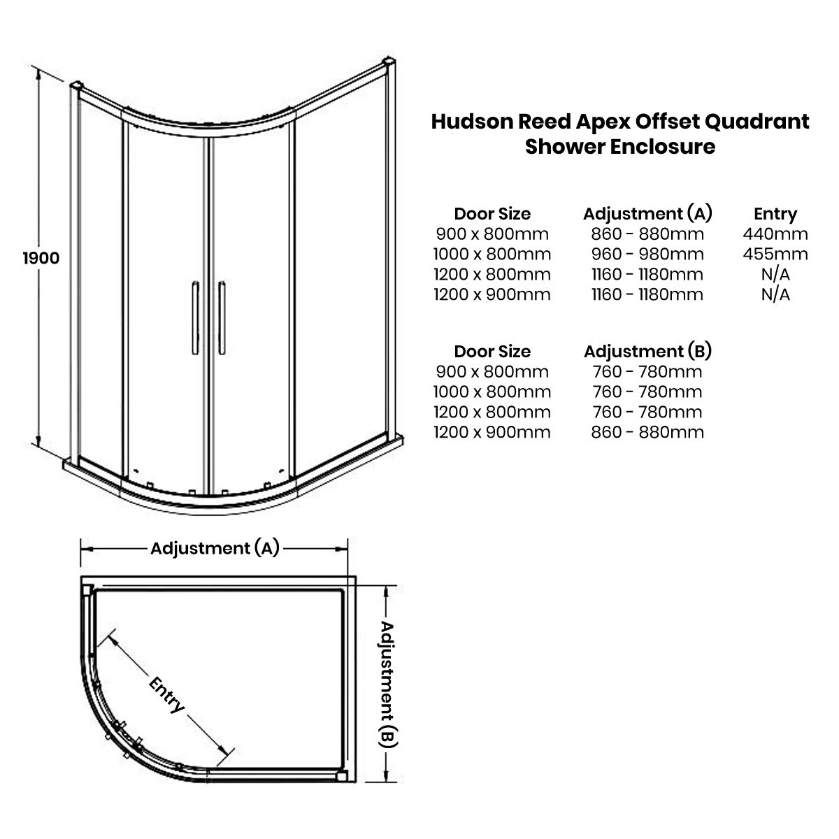 Hudson Reed Apex Offset Quadrant Shower Enclosure Dimensions