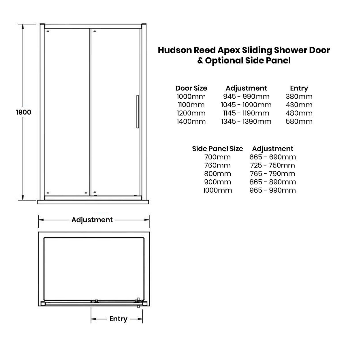 Hudson Reed Apex Sliding Shower Enclosure Dimensions