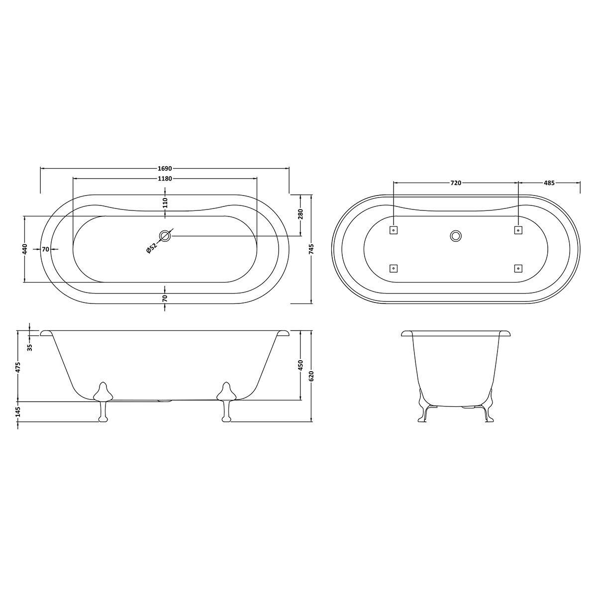 Hudson Reed Kingsbury Freestanding Bath with Pride Leg Set Dimension