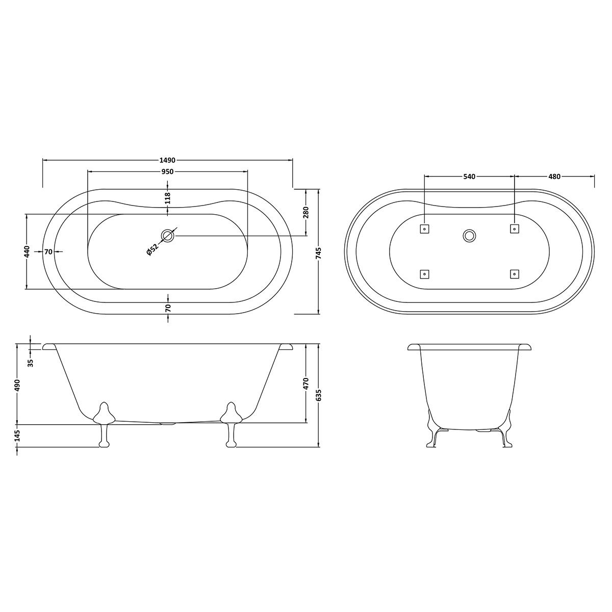 Hudson Reed Kingsbury Freestanding Bath with Deacon Leg Set Dimension