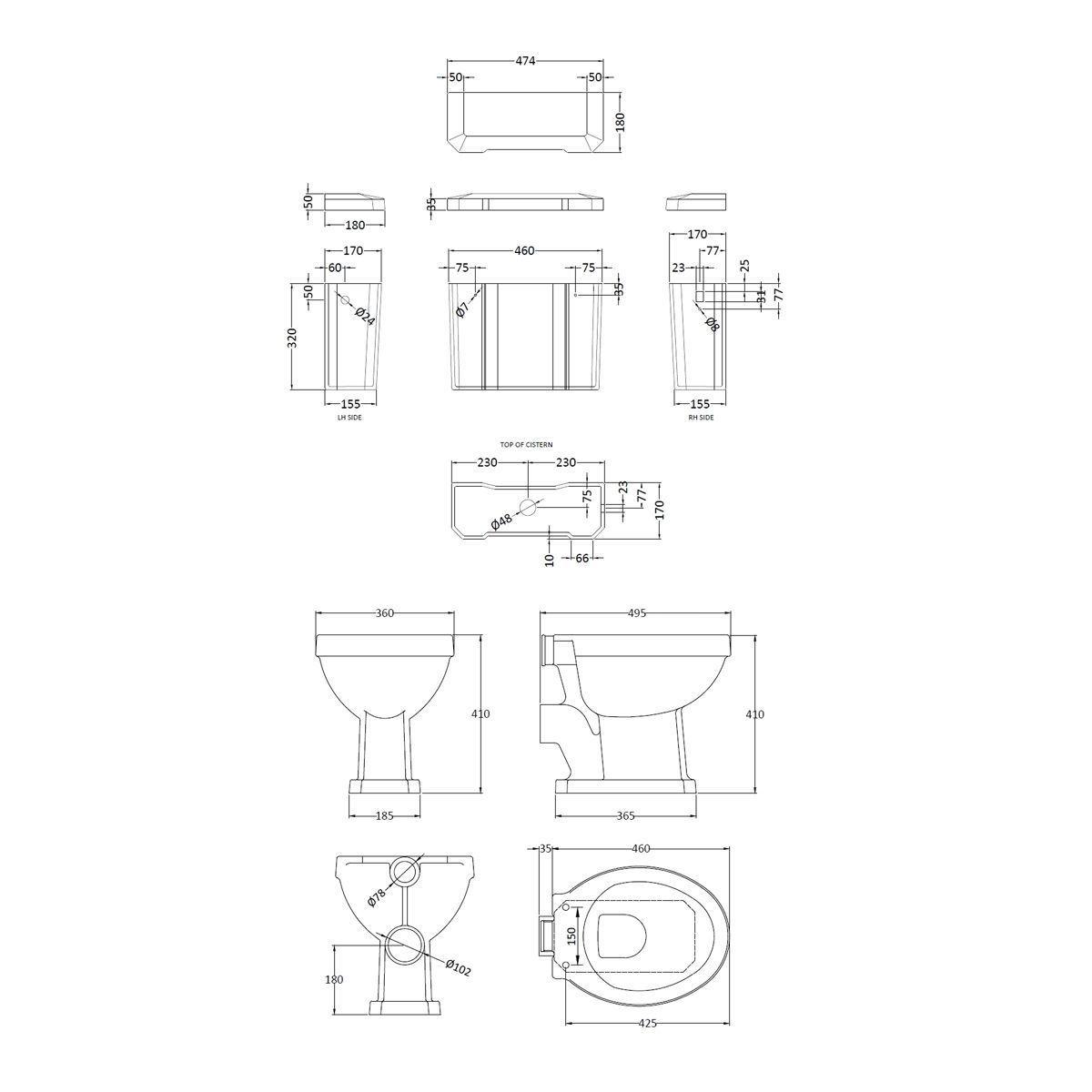 Hudson Reed Richmond High Level Toilet