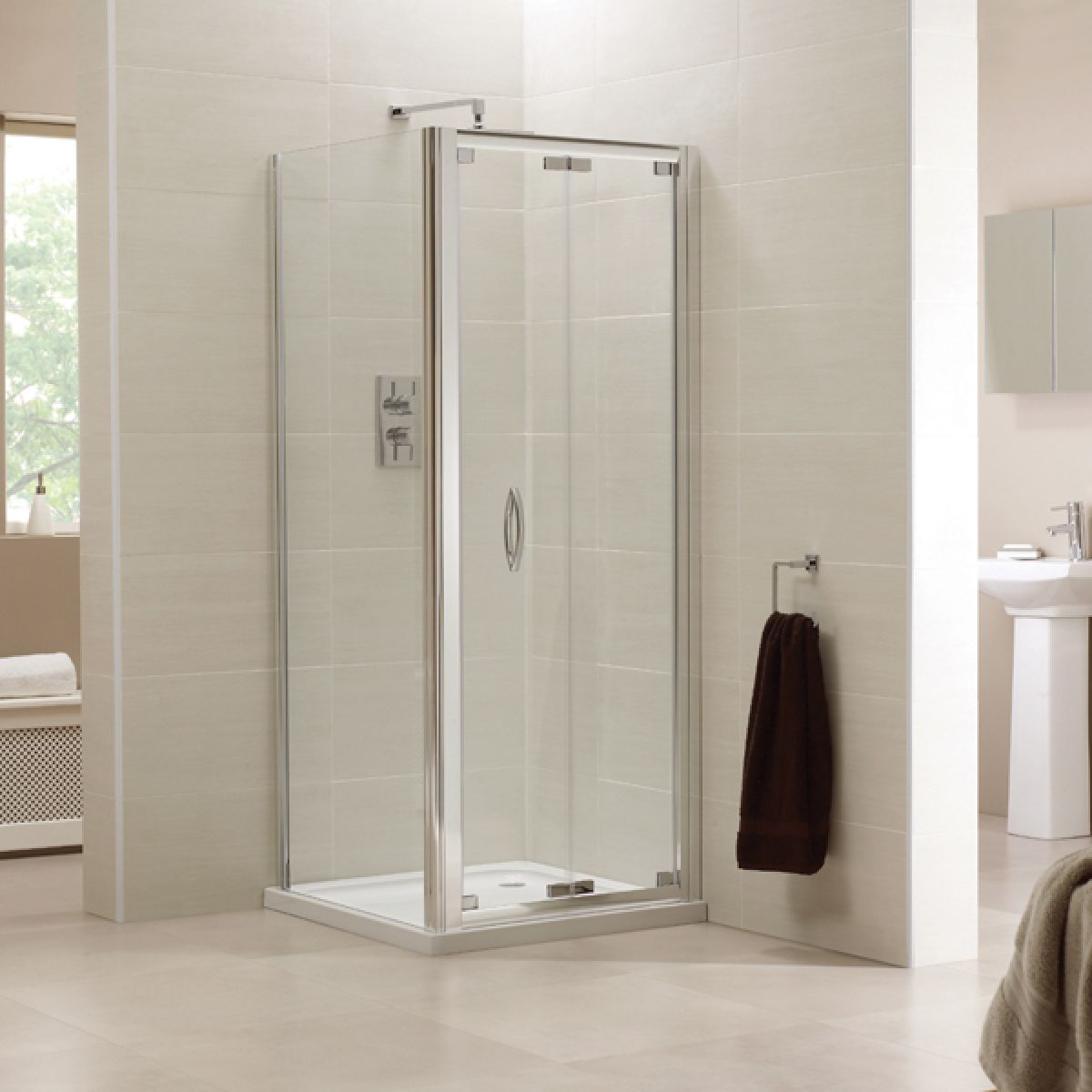 Identiti2 Bi-Fold Shower Door with Optional Side Panel