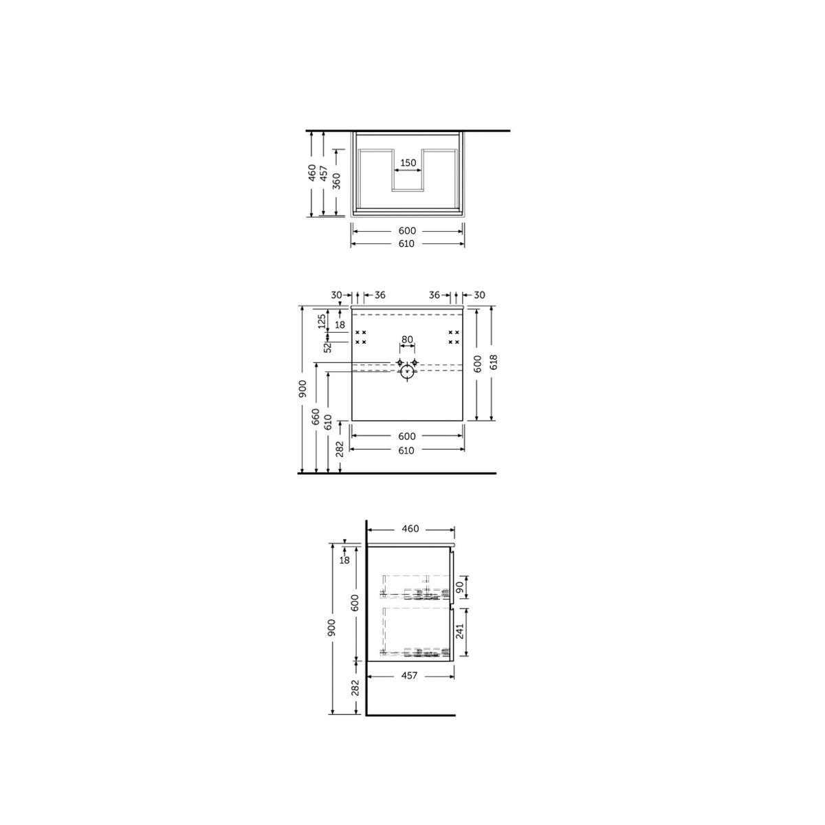 RAK Joy Grey Elm Wall Hung Vanity Unit 600mm Measurements